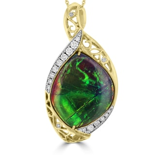 La Vita Vital 14k Yellow Gold Ammolite and 1/2ct TDW White Diamond Pendant Necklace (G-H, SI1-SI2)