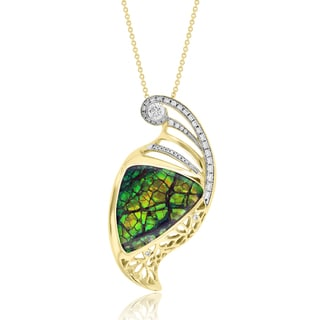 La Vita Vital 14k Yellow Gold Ammolite and 5/8ct TDW White Diamond Necklace (G-H, SI1-SI2)