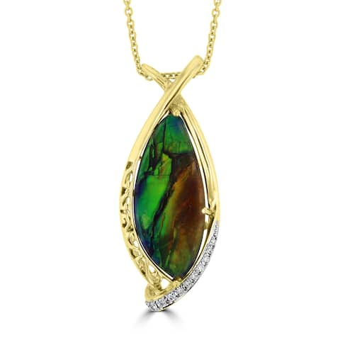 La Vita Vital 14k Yellow Gold Ammolite and Diamond Accent Necklace