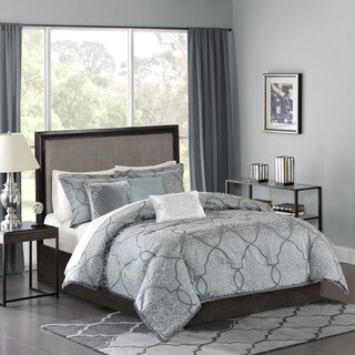 Madison Park Anouk Blue 6 Piece Jacquard Duvet Cover Set