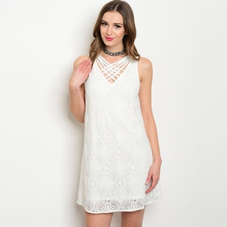 Shop The Trends Women's White Cotton and Nylon Sleeveless Lace Cross Over Front Straps Dress