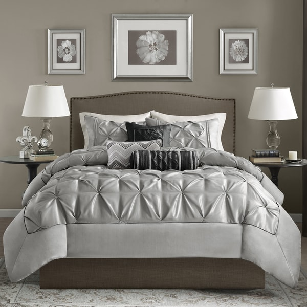 Madison Park Cynthia Grey Tufted 6 Piece Duvet Cover Set