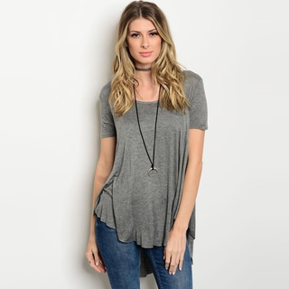 Shop The Trends Women's Rayon/Spandex Short-sleeve Jersey-knit T-shirt with Scoop Neckline