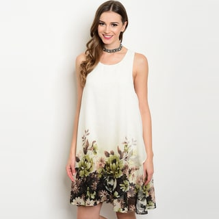 Shop The Trends Women's Sleeveless Border Floral-print Round-neckline Tunic Dress