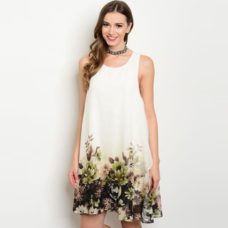 Shop The Trends Women's Sleeveless Border Floral-print Round-neckline Tunic Dress