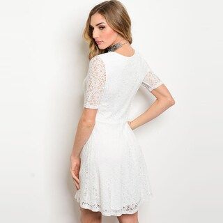 Shop The Trends Women's Nylon and Rayon Short-sleeved Allover Lace Design Round Neckline Skater Dress