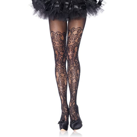 Leg Avenue Women's Black Nylon-blend Plus-size Floral Vine Net Pantyhose