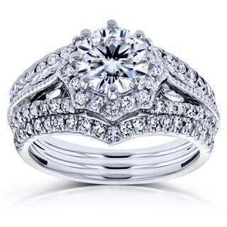 Annello by Kobelli 14k White Gold 1 5/8ct TCW Forever One GHI Moissanite and Diamond Star Halo 3-Ring Bridal Set (H-I, I1-I2)