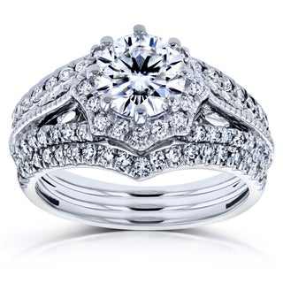 Annello by Kobelli 14k White Gold 1 5/8ct TCW Forever One DEF Moissanite and Diamond Star Halo 3-Ring Bridal Set (H-I, I1-I2)