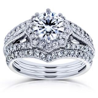 Annello by Kobelli 14k White Gold 1 5/8ct TCW Forever One DEF Moissanite and Diamond Star Halo 3-Ring Bridal Set (H-I, I1-I2) (Option: 4)