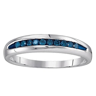 Sterling Silver 1/4 CT. TDW Round Cut Blue Diamond Men's Fashion Right Hand Fashion Band (Blue & I2-I3)