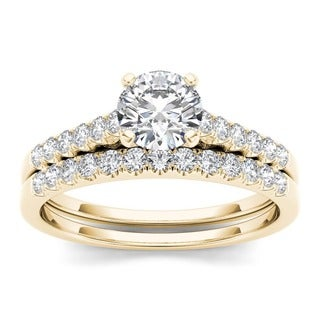 De Couer 10k Yellow Gold 1ct TDW Diamond Classic Engagement Ring Set