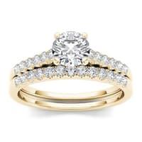 De Couer 10k Yellow Gold 1ct TDW Diamond Classic Engagement Ring Set
