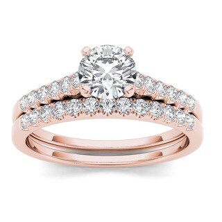 De Couer 10k Rose Gold 1ct TDW Diamond Classic Engagement Ring Set - Pink