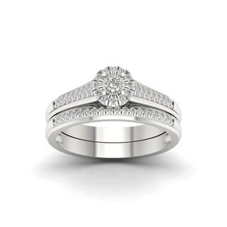 1/4ct TDW Diamond Bridal Set in Sterling Silver