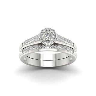 1/4ct TDW Diamond Bridal Set in Sterling Silver