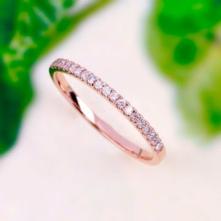 De Couer 14k Rose Gold 1/4ct TDW Wedding Band - Pink