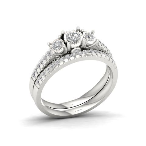 IGI Certified 1/2ct TDW Diamond Three Stone Bridal Set in Sterling Silver