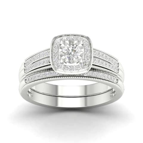 Sterling Silver 2/5ct TDW Diamond Bridal Set.