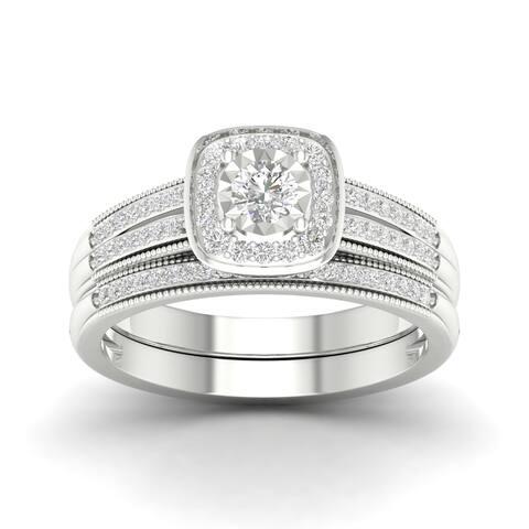 Sterling Silver IGI Certified 2/5ct TDW Diamond Bridal Set.