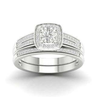 2/5ct TDW Diamond Bridal Set in Sterling Silver