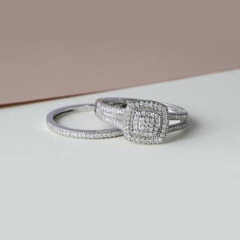 IGI Certified 1/4ct TDW Diamond Cluster Halo Bridal Set in Sterling Silver
