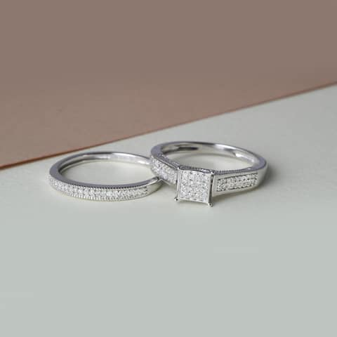 IGI Certified 1/4ct TDW Diamond Bridal Set in Sterling Silver
