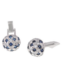 Icz Stonez Sterling Silver Blue and White CZ Round Cuff Links - Thumbnail 0