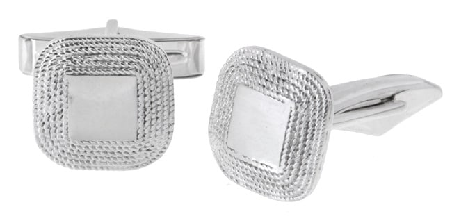 Icz Stonez Sterling Silver Square Cuff Links