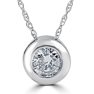 14k White Gold 1/2ct TDW Diamond Solitaire Bezel Pendant