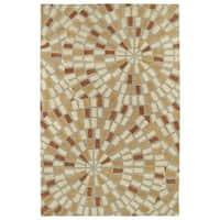 "Hand-Tufted Lola Mosaic Beige Cobblestone Wool Rug - 3'6"" x 5'6"""