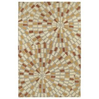 Hand-Tufted Lola Mosaic Beige Cobblestone Wool Rug (5'0 x 7'9)