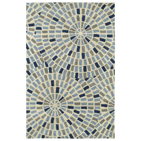 Hand-Tufted Lola Mosaic Blue Cobblestone Wool Rug - 2' x 3'