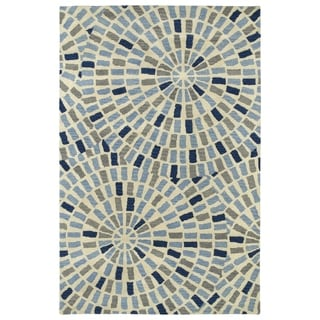 Hand-Tufted Lola Mosaic Blue Cobblestone Wool Rug (5'0 x 7'9)