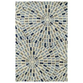 Hand-Tufted Lola Mosaic Blue Cobblestone Wool Rug (8'0 x 11'0)
