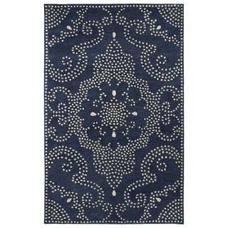 Hand-Tufted Lola Mosaic Navy Medallion Wool Rug (5' x 7'9)