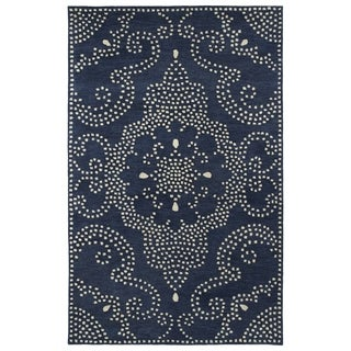 Hand-Tufted Lola Mosaic Navy Medallion Wool Rug (8'0 x 11'0)
