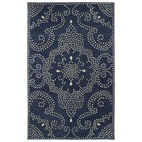 Hand-Tufted Lola Mosaic Navy Medallion Wool Rug - 8' x 11'