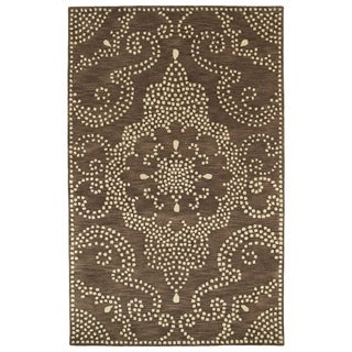 Hand-Tufted Lola Mosaic Brown Medallion Wool Rug (8'0 x 11'0)