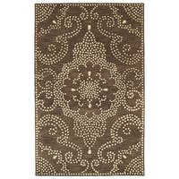 Hand-Tufted Lola Mosaic Brown Medallion Wool Rug - 8' x 11'