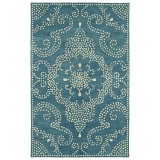 Hand-Tufted Lola Mosaic Teal Medallion Wool Rug (3'6 x 5'6) - 3'6 x 5'6'