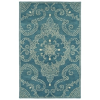 Hand-Tufted Lola Mosaic Teal Medallion Wool Rug (5'0 x 7'9)