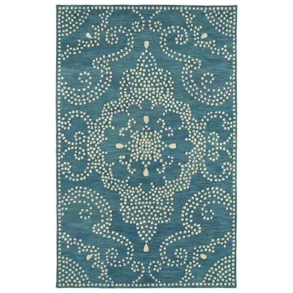 Shop Hand-Tufted Lola Mosaic Teal Medallion Wool Rug