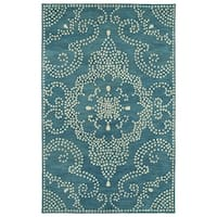 Hand-Tufted Lola Mosaic Teal Medallion Wool Rug - 8' x 11'