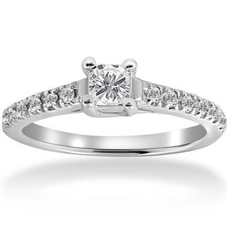 14k White Gold 1/2ct TDW Diamond Princess Cut Engagement Ring 14K White Gold (I-J,I2-I3)