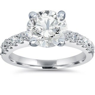 14k White Gold 1 1/2 ct TDW Diamond Clarity Enahcned Engagement Ring Solitaire With Accents 14K White Gold (H-I, SI2-I1)