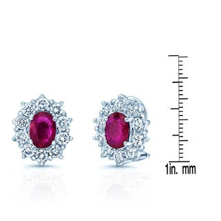 18k White Gold Ruby and 2ct TDW White Diamond Earring (H-I, VS1-VS2)
