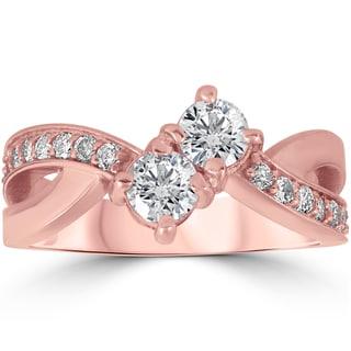 10k Rose Gold 1 ct TDW Two Stone Diamond Anniversary Engagement Ring