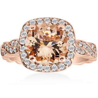 14K Rose Gold 1 7/8 ct TW Morganite & Diamond Vintage Cushion Halo Infinity Engagement Ring (I-J,I2-I3)