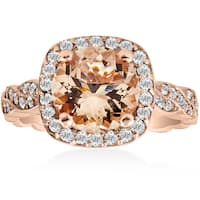 14K Rose Gold 1 7/8 ct TW Morganite & Diamond Vintage Cushion Halo Infinity Engagement Ring (I-J,I2-I3)